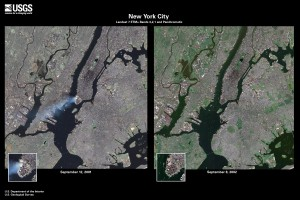Side by side comparison image of the World Trade Center taken on 9/12/01 and 9/8/02 by Landsat 7 flying 438 miles up. Copyright : USGS