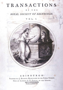 Science en transaction : Transactions of the Royal Society of Edinburgh, 1788 (sources : Wikimedia Commons)