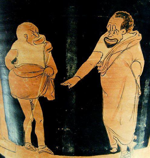 Maître (à droite) et esclave (à gauche) dans une comédie phlyaque, vers 350-340 av. J.-C., Louvre (crédits : Wikimédia Commons)