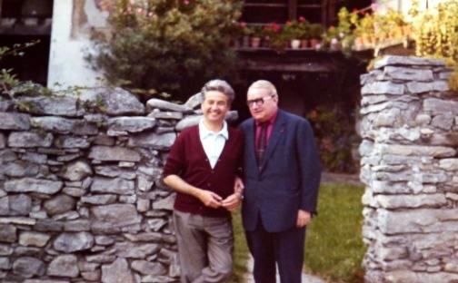 Henry Corbin et Gilbert Durand, cercle Eranos, en 1968 (crédits : amiscorbin.com)