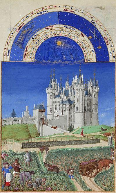 Septembre, Les Très Riches Heures du duc de Berry, par les Frères de Limbourg, 15e siècle (source : Wikipédia)