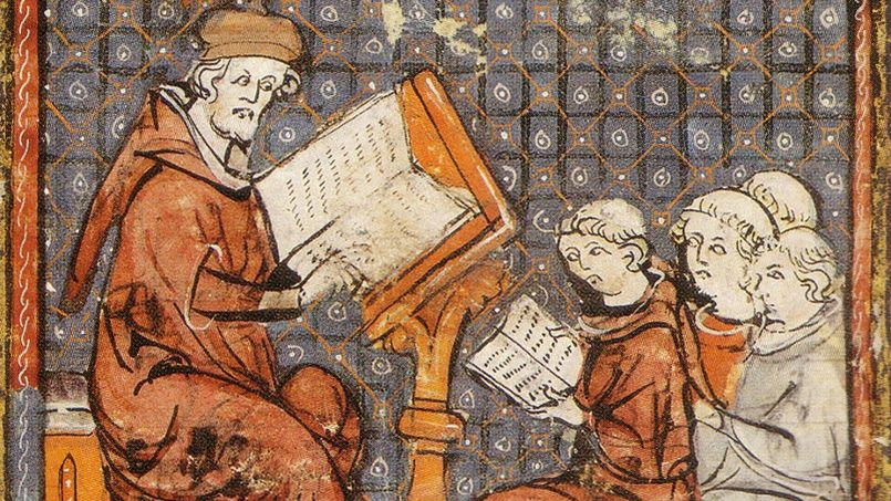 La Sorbonne médiévale, au rythme des leçons en latin (crédits : Vol de nuit, via http://etudiant.lefigaro.fr/les-news/actu/detail/article/et-si-vous-etiez-etudiant-au-moyen-age-17341/)